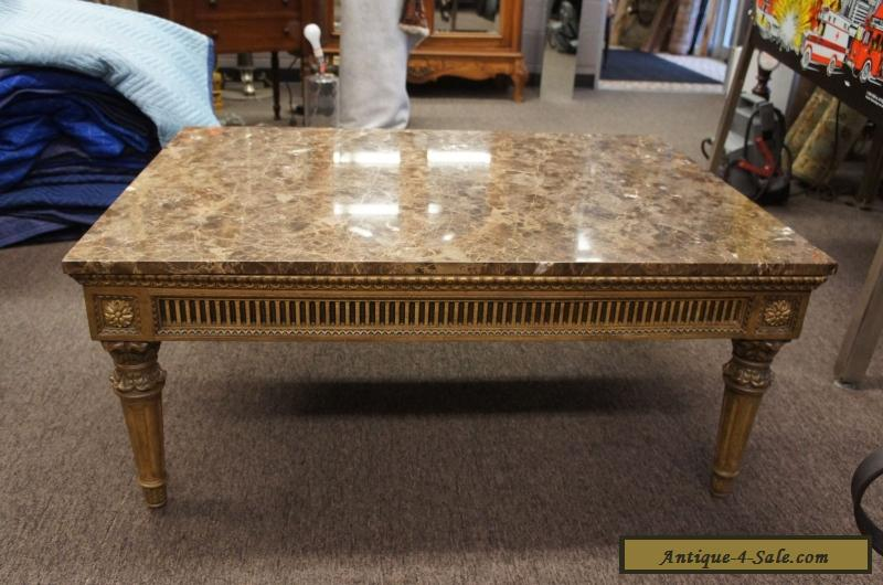 Vintage French Louis Xv Style Marble Top Coffee Table
