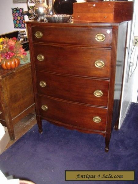 Mahogany High Chest On Chest Vintage Antique Dresser 4 Drawers For