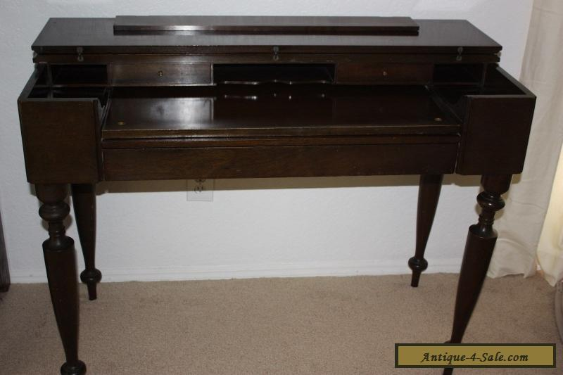 Antique Vintage Primative Spinet Piano Desk With Mahogany