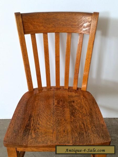 Vintage Antique Oak Wood Slat Back School Office Dining Cafe Side Chair 1 Fo