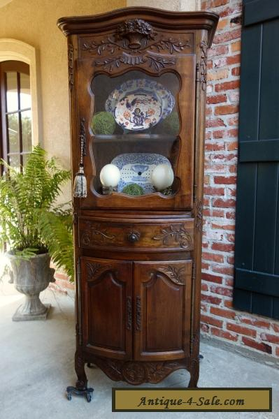 Antique French Carved Walnut Vitrine Display Cabinet Bookcase Louis XV Style  For Sale