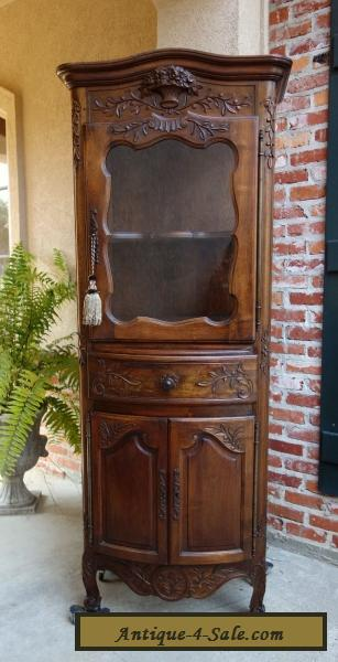 Antique French Carved Walnut Vitrine Display Cabinet