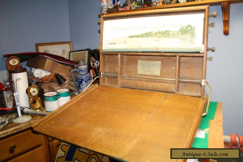Antique Child's Chautauqua Industrial Art Desk With Chalkboard And Scroll  1913 for Sale - Antique Child's Chautauqua Industrial Art Desk With Chalkboard And