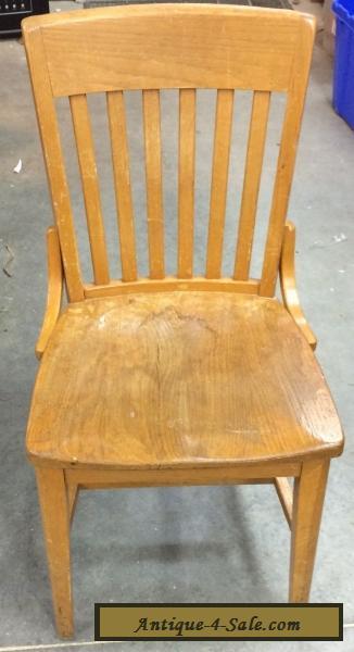 Vintage Antique Oak Wood Slat Back School Office Side Chair Jasper For