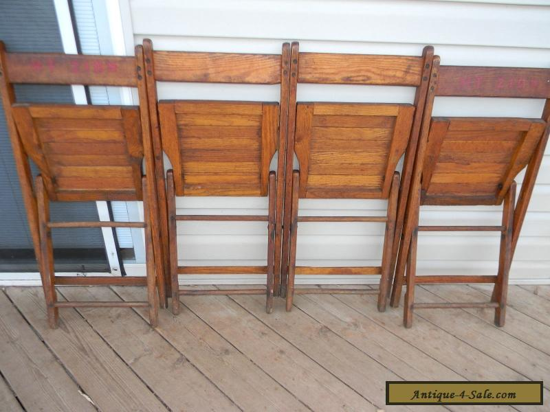 Vintage Wooden Oak Folding Chairs set of 4 for Sale in United States
