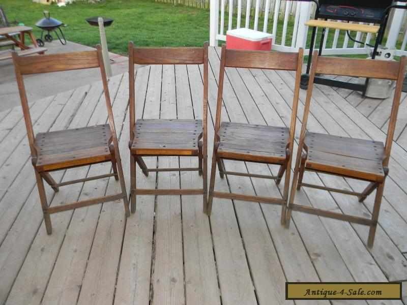 ... Vintage Wooden Oak Folding Chairs Set Of 4 For Sale