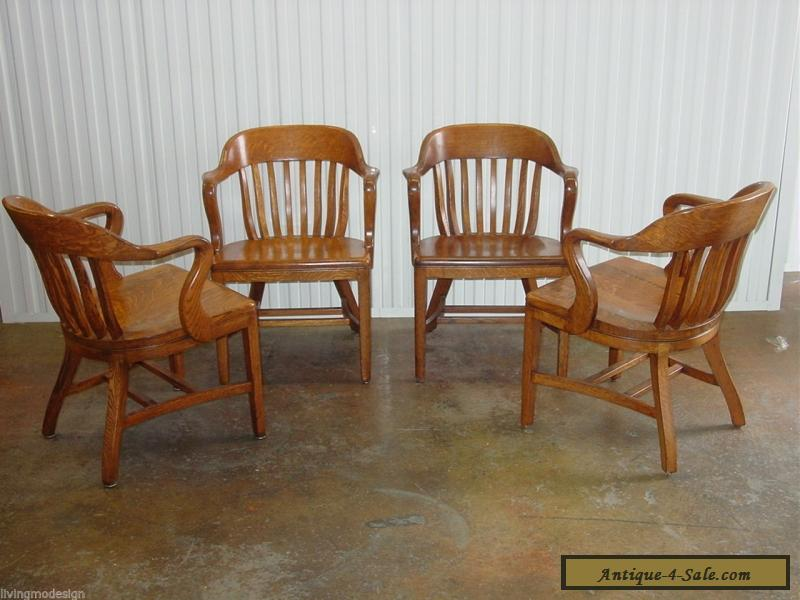 Vintage c. 1950s SIKES Solid Wood Courthouse Jury Bankers Chairs ~ Set of 4  for ... - Vintage C. 1950s SIKES Solid Wood Courthouse Jury Bankers Chairs