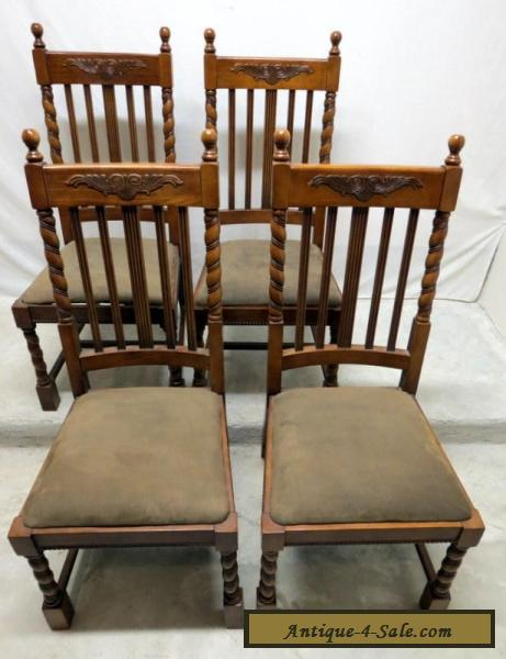 Vtg Antique Style Set 4 Oak Barley Twist Dining Room Kitchen Chairs Wing  Carved for Sale - Vtg Antique Style Set 4 Oak Barley Twist Dining Room Kitchen Chairs