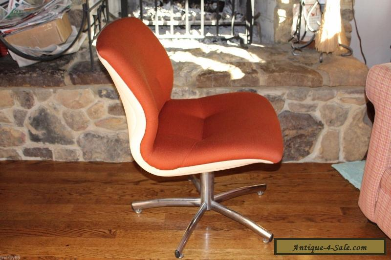 Vintage Dark Orange Steel Case Desk Office Chair Mid Century Modern For Sale