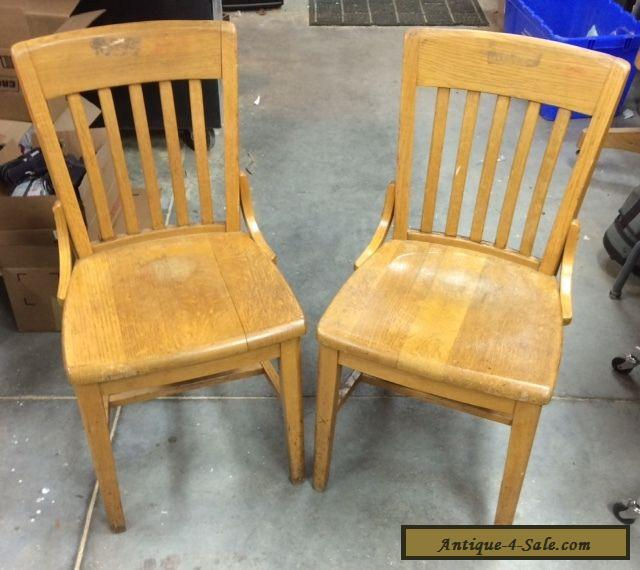Vintage Antique Oak Wood Slat Back School Office Side Chairs 2 For Sale In United States