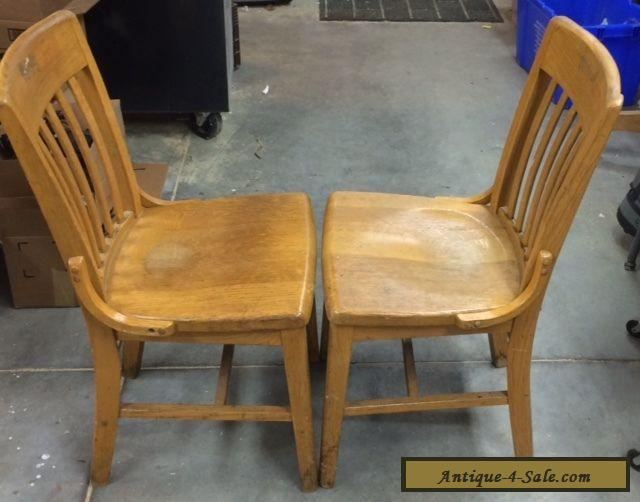 Bon Vintage Antique Oak Wood Slat Back School / Office / Side Chairs (2) For