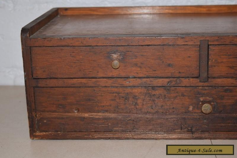 Vintage oak table top desk top 3 drawer storage cabinet for Kitchen drawers for sale