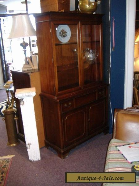 Mahogany China Cabinet Closet Glass Door Vintage Antique