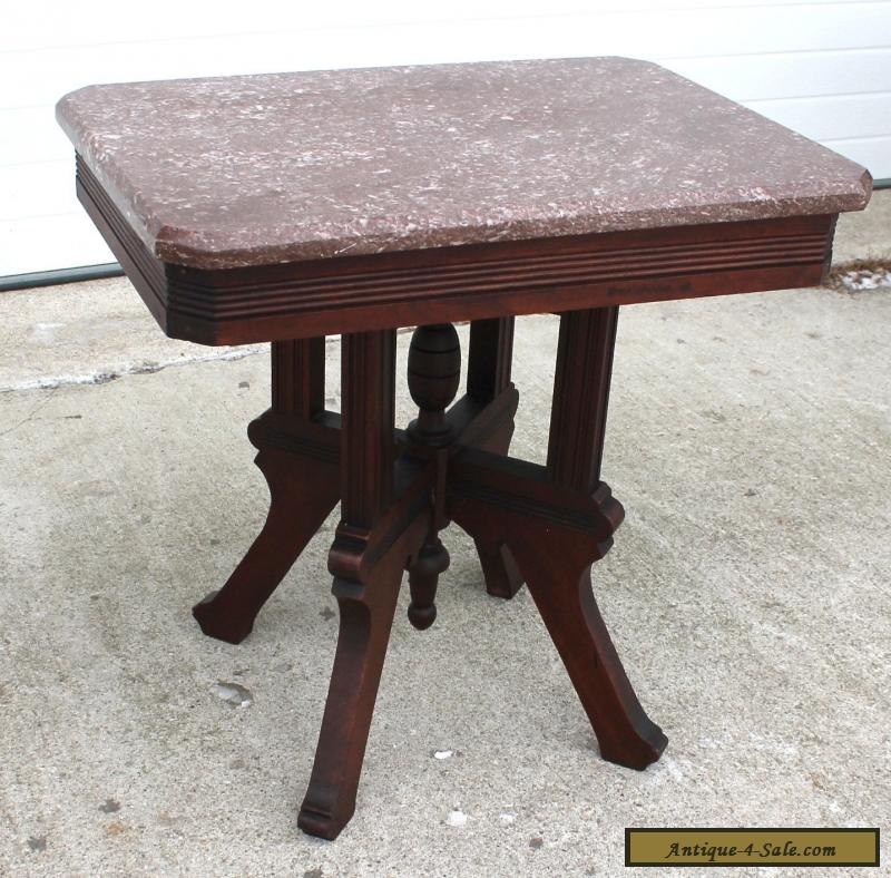 Victorian Style Marble Coffee Table: 1870-80s SOLID WALNUT VICTORIAN ROSE MARBLE TOP COFFEE