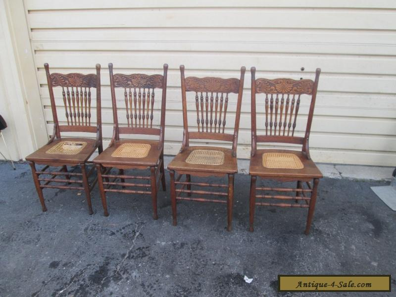 56629 set 4 antique solid oak dining room chair s chairs