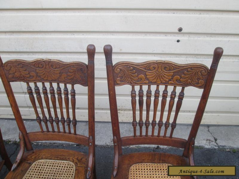 56629 set 4 antique solid oak dining room chair s chairs for sale in united states - Oak dining room sets for sale ...