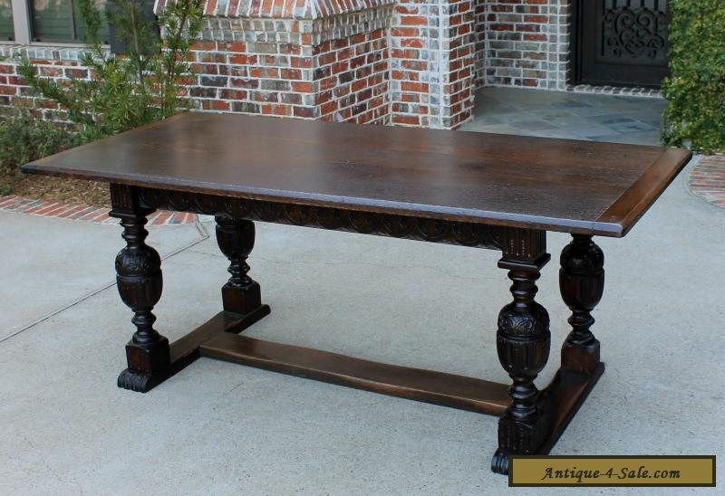 Brilliant Antique French Carved Oak Farmhouse Trestle Large Dining Table Desk Pegged 1880S Interior Design Ideas Oteneahmetsinanyavuzinfo