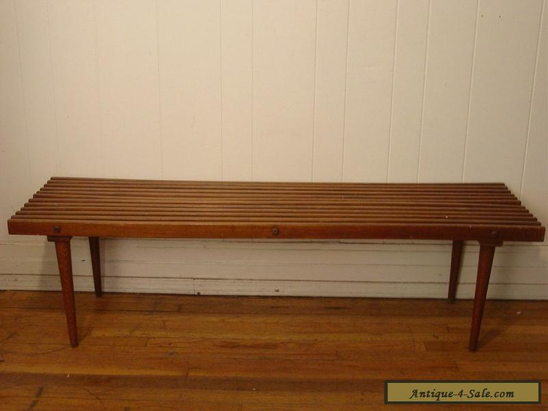 Vintage 1950s Slat Bench Cofee Table Mid Century Modern