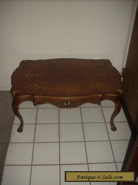 Antique Louis Xv Styled French Marquetry Inlaid Carved