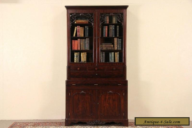 Victorian 1850's Antique Carved Mahogany Secretary Desk & Bookcase for Sale - Victorian 1850's Antique Carved Mahogany Secretary Desk & Bookcase