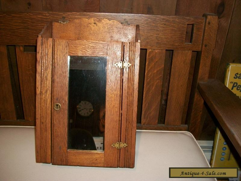 BEAUTIFUL ANTIQUE OAK APOTHECARY MEDICINE WALL CABINET WITH MIRROR For Sale