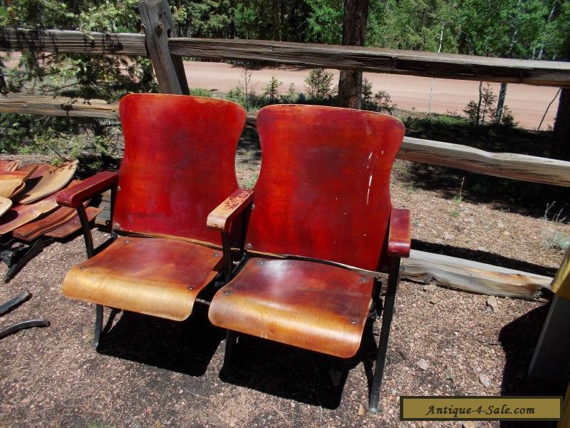 2 Antique Vintage American Seating Co Wood Movie Theater