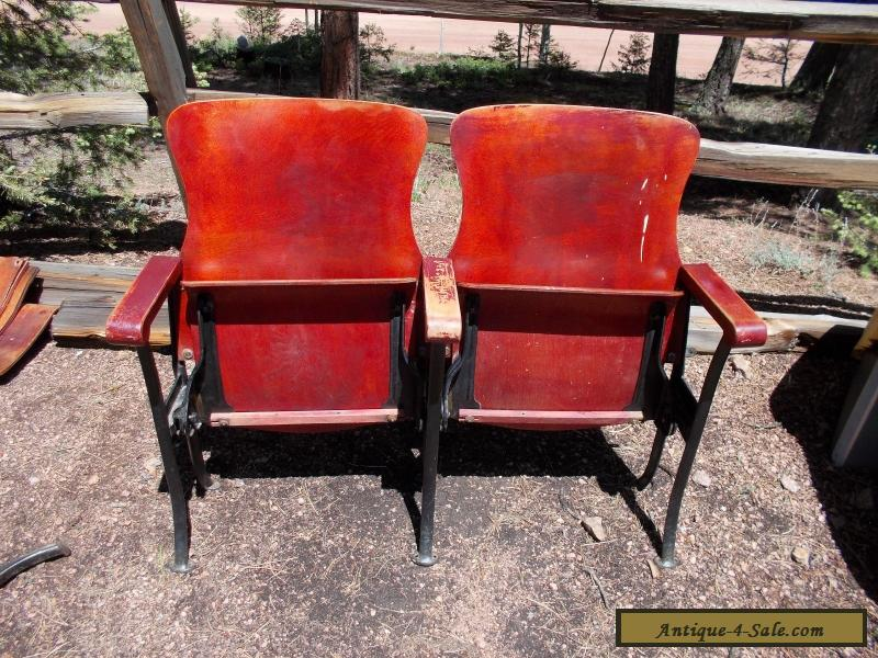 2 ANTIQUE VINTAGE AMERICAN SEATING CO WOOD MOVIE THEATER CHAIR SEATS For
