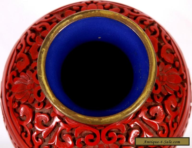 Chinese Cinnabar Vase With Blue Enamel Interior 9 For Sale In Canada