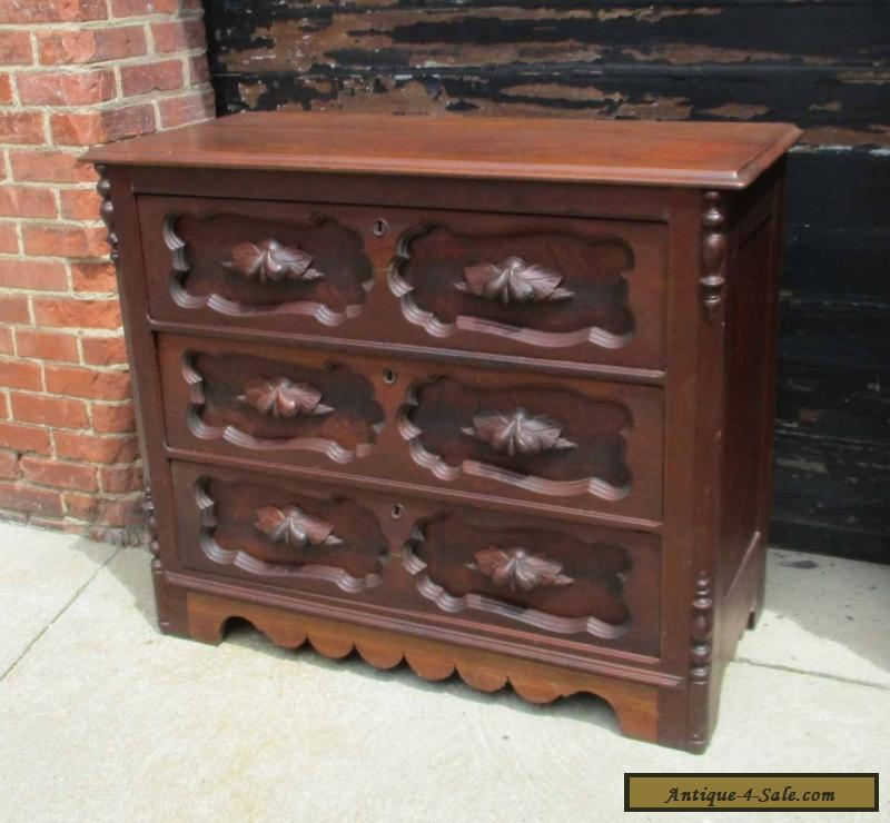antique victorian late 1800 39 s solid walnut dresser chest of drawers for sale in united states. Black Bedroom Furniture Sets. Home Design Ideas
