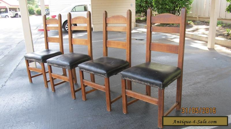 Antique Stickley Mission Style Set of 4 Ladder Back Oak Dining Chairs Craftsman for Sale in ...
