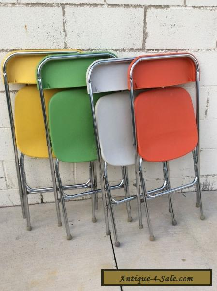 Mid Century Modern Multi Colorful Vintage Samsonite Plastic Folding Chairs Set for Sale & Mid Century Modern Multi Colorful Vintage Samsonite Plastic Folding ...