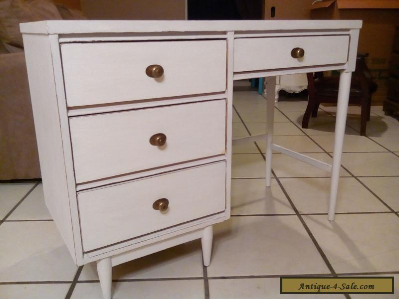 Vintage Mid Century Desk 1950 4 Drawers Rustic White Wood Shabby Chic For