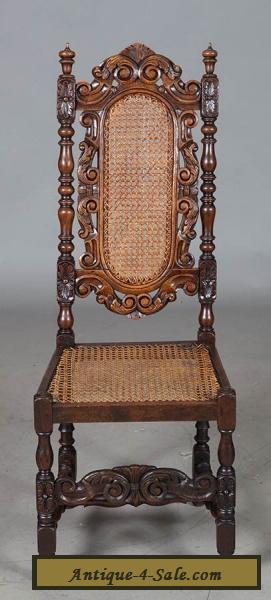 Set Of Six French Antique Carved Oak Dining Chairs Cane