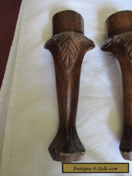 Set Of 4 Antique Vintage Solid Wood Lions Foot Table Legs