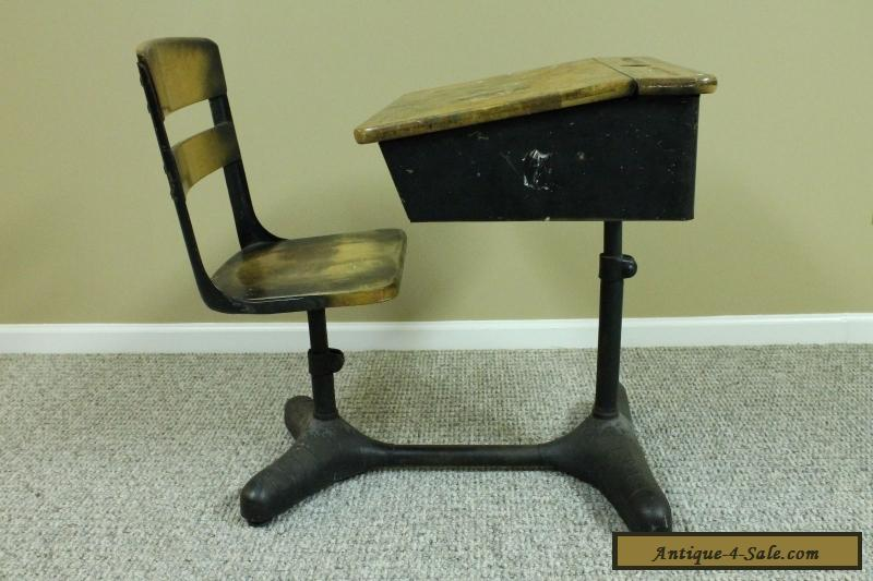 ANTIQUE VINTAGE STUDENT (CHILD'S) ADJUSTABLE SCHOOL DESK CHAIR & BACK ... - ANTIQUE VINTAGE STUDENT (CHILD'S) ADJUSTABLE SCHOOL DESK CHAIR
