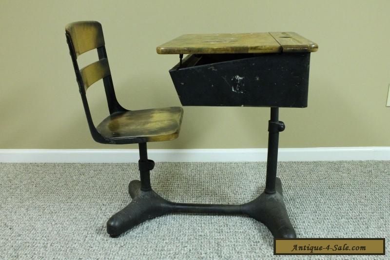 Antique Vintage Student Child S Adjustable School Desk