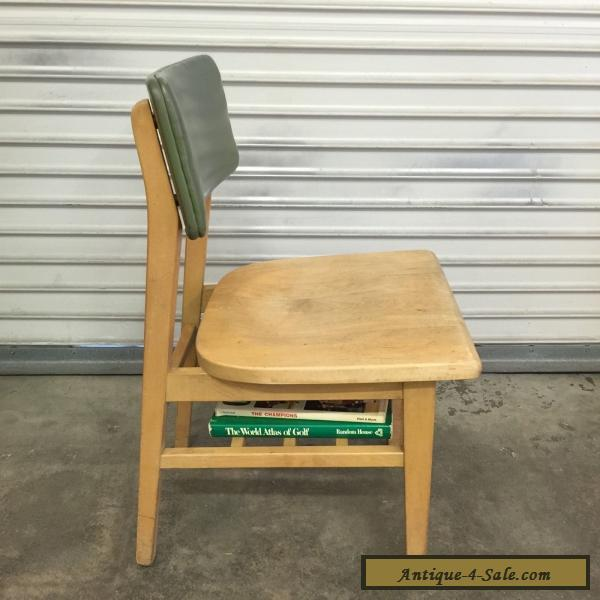 mid century library furniture wood chair with book shelf office