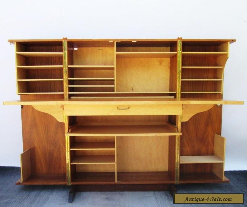 Vintage danish modern teak wood folding cube locking desk for Danish modern reproduction
