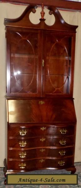 JASPER FLAME MAHOGANY SECRETARY Desk Lighted Cabinet #809 ...