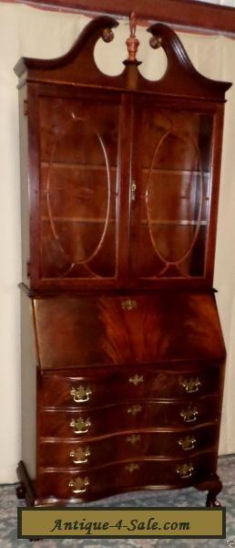 Vintage Secretary Desk >> JASPER FLAME MAHOGANY SECRETARY Desk Lighted Cabinet #809 Claw Feet VINTAGE for Sale in United ...