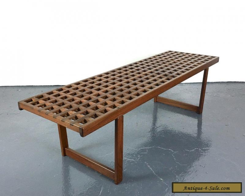 Vintage mid century danish modern teak bench coffee table for Danish modern reproduction