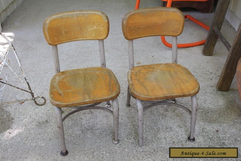 Set Of 2 Vintage Heywood Wakefield Small Wood Metal School Desk Or Table Chairs For In United States