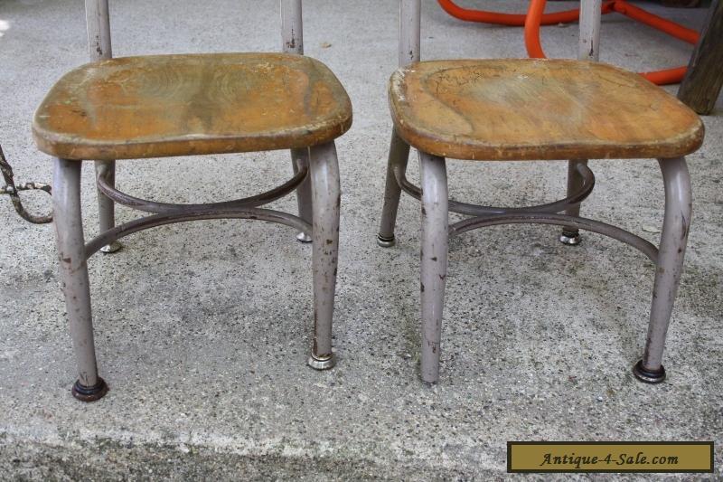 Set Of 2 Vintage Heywood Wakefield Small Wood Metal School