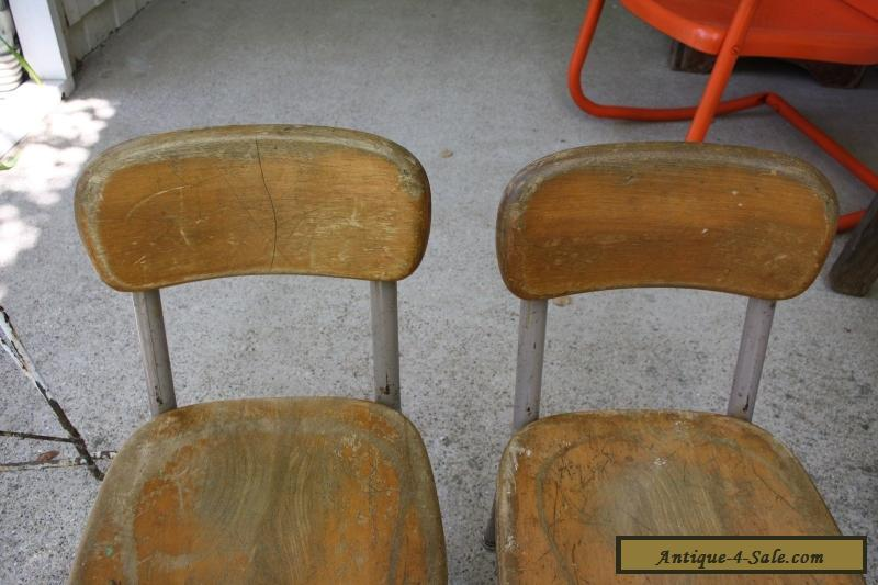 ... Set of 2 Vintage Heywood Wakefield Small Wood/Metal School Desk or  Table Chairs for - Set Of 2 Vintage Heywood Wakefield Small Wood/Metal School Desk Or