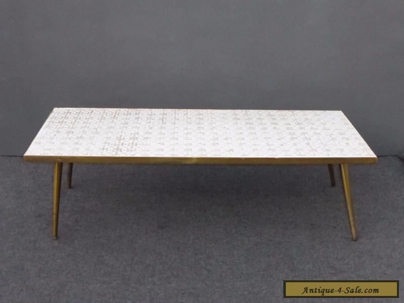 Vintage Mid Century Modern White Tile Mosaic Style Top Br Legs Coffee Table For