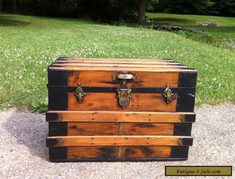 Antique Refinished Steamer Chest Vintage Flat Top Coffee Table Trunk W Tray For Sale In United
