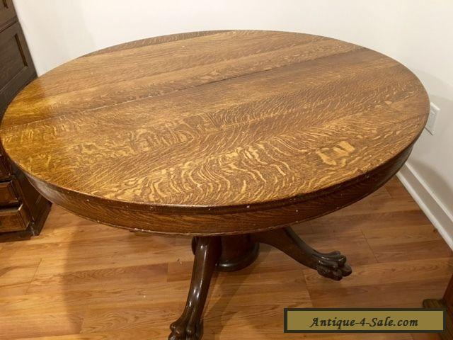 Antique Victorian Large Oak Round Dining Table with Claw ...