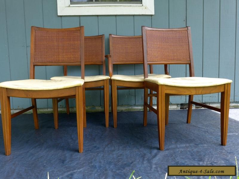 4 Vintage Mid Century Modern Cane Back Dining Chairs