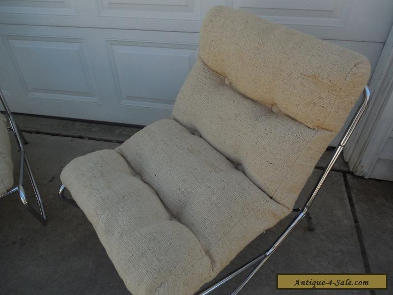 Superbe ... Awesome Vintage Mid Century Modern SLING CHAIR Set Don Julio W Chrome  Frame For Sale