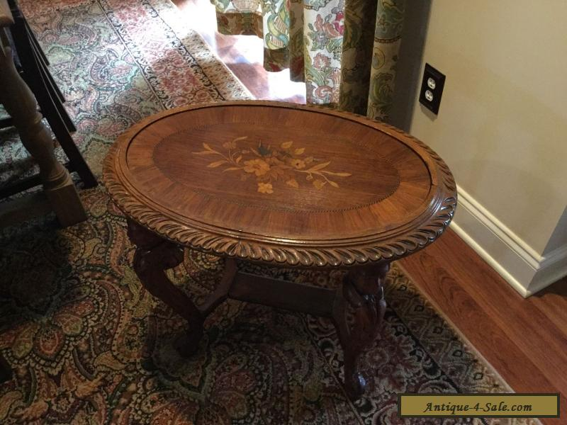 Antique Victorian Era Walnut Table With Carved Figural Legs U0026 Inlay For Sale